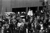 Protestors gathering in downtown Seattle in response to the Kent State shootings, May 8, 1970