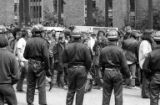 Police monitoring students participating in a protest in opposition to the Vietnam War at the...