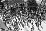 Aerial view of students at the University of Washington marching during an anti-war protest, May...