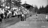 Grandstand filled with people watching three hurdlers cross the finish line, circa 1908-1909