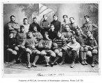 Football team with trophy, University of Washington, 1896