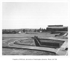 Edmundson Pavilion and tennis courts from east parking lot looking southeast, University of...