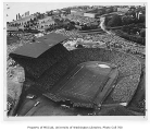 Aerial of Husky Stadium during football game, University of Washington, ca. 1960