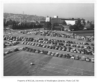Southeast campus parking lot, looking southwest, University of Washington, October 1956