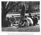 Class meeting outdoors, University of Washington, 1969