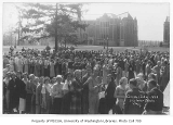 1933 Campus Day showing students lined up, University of Washington