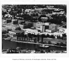 Aerial of campus with Medical Center in foreground, University of Washington, ca. 1955