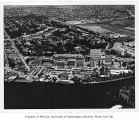 Aerial of campus from the southwest with Medical Center in foreground, University of Washington,...