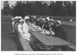 1929 Campus Day showing nurses eating lunch, University of Washington