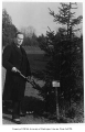 Swedish representative planting tree in Consulate Grove, University of Washington, 1932