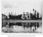 Oregon State Building viewed across Geyser Basin, University of Washington, ca. 1911