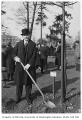 Latvian representative planting tree in Consulate Grove, University of Washington, 1932