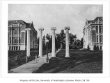 Columns in front of Savery, Denny, and Raitt Halls, University of Washington, ca. 1920