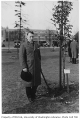 Danish representative planting tree in Consulate Grove, University of Washington, 1932