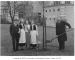 Lithuanian representatives planting tree in Consulate Grove, University of Washington, 1932