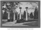 Columns with Denny Hall in background, University of Washington, ca. 1915