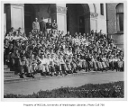 1933 Campus Day showing students on Denny Hall steps, University of Washington