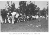 1930 Campus Day showing tug of war, University of Washington