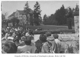 1929 Campus Day showing President Spencer addressing students, University of Washington