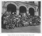 1930 Campus Day showing students on Denny Hall steps, University of Washington