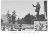 1929 Campus Day showing Edmond Meany addressing students, University of Washington