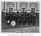 Band on steps of old Meany Hall, University of Washington, ca. 1915