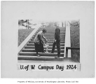 1924 Campus Day showing students with trophy, University of Washington
