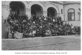 1911 Campus Day showing students on Denny Hall steps, University of Washington