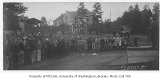 1925 Campus Day showing man addressing students, University of Washington