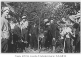 1914 Campus Day showing Edmond Meany tree planting, University of Washington
