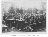 1920 Campus Day showing students at lunch tables, University of Washington