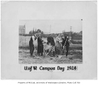 1924 Campus Day showing students with tools and box lunches, University of Washington