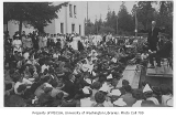 1910 Campus Day showing Edmond Meany addressing students, University of Washington