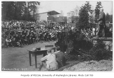 1922 Campus Day showing Edmond Meany addressing students, University of Washington