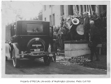 1924 Campus Day showing Edmond Meany being presented with car, University of Washington
