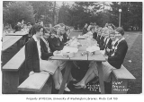 1928 Campus Day showing students eating lunch, University of Washington