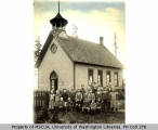 Students and teacher in front of Vermontville School, Vashon Island, n.d.