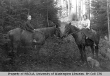 Floyd and Effie Mace on horseback with dog, probably Vashon Island, n.d.