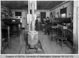 Interior of Island County Times office with Carl Pearson and O. S. Van Olinda, Coupeville, 1903