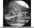 Remains of a water wheel at the Livesly Shingle Mill, Vashon Island, 1891