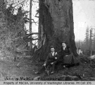 John and Mattie Thompson in front of large tree, probably Vashon Island, n.d.