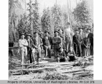 Hop-pickers showing Nick Mathis seated lower right, probably Vashon Island, 1892