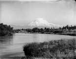 View of Mount Rainier looking southeast up Puyallup River, Tacoma, July 10, 1899
