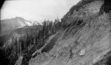 Hiker on the trail from Spray Park to North Mowich Glacier, July 20, 1897