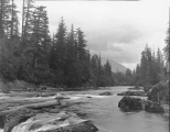 Snoqualmie River above Snoqualmie Falls, Mount Si in distance, July 17, 1898