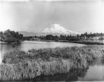 View of Mount Rainier looking southeast up Puyallup River, Tacoma, July 1, 1899