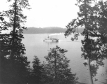 Steamship MULTNOMAH viewed from rustic bridge in Point Defiance Park, Tacoma, July 26, 1898