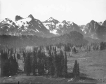 Central portion of panorama of Tatoosh Range viewed from Camp of the Clouds, Mount Rainier, August...