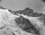 Looking northwest up Cowlitz Glacier, Mount Rainier, August 23, 1895