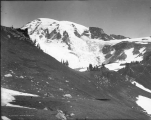 South peak of Mount Rainier and upper part of Nisqually Glacier viewed from Camp of the Clouds,...